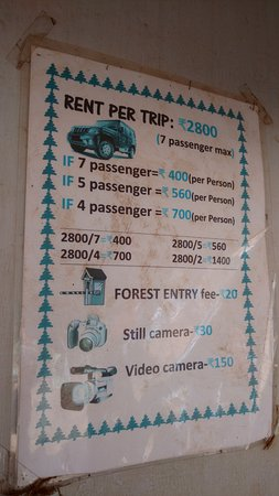 Mollem National Park, Ấn Độ: Taxi fare