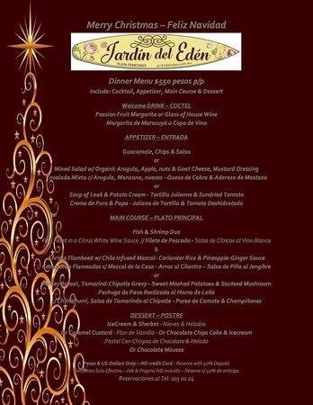 Menu de navidad 2016 felices fiestas picture of jardin del eden troncones tripadvisor - Jardin des crayeres menu ...