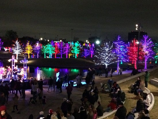 Amphitheater Seating Picture Vitruvian Park Addison Christmas Lights