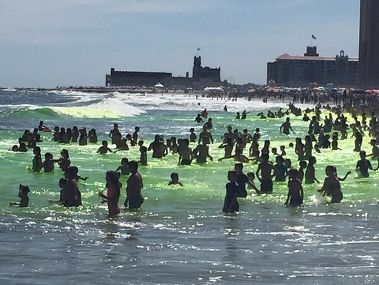 Allenhurst, NJ: Ocean Dye happens the Sunday of Labor Day Weekend every year. Asbury Park in the background.