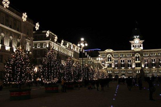 Trieste Natale Immagini.Un Lato Addobbato Con Alberi Di Natale E Palazzo Del Municipio Sullo