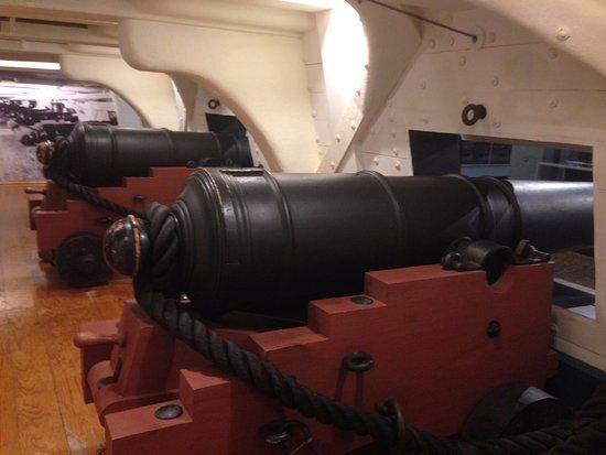 """USS Kidd: Full scale model of guns of """"Old Ironsides"""" inside museum"""