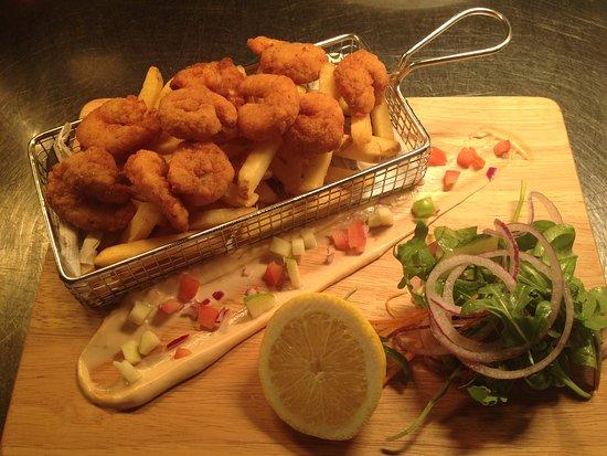 Crumlin, UK: Deep fried black tiger prawns