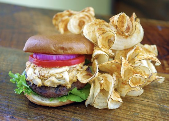 Kilmarnock, VA: Chesapeake Crabmeat-Topped Burger with Twisters