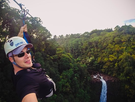 Honomu, HI: GoPro selfie while passing the falls.
