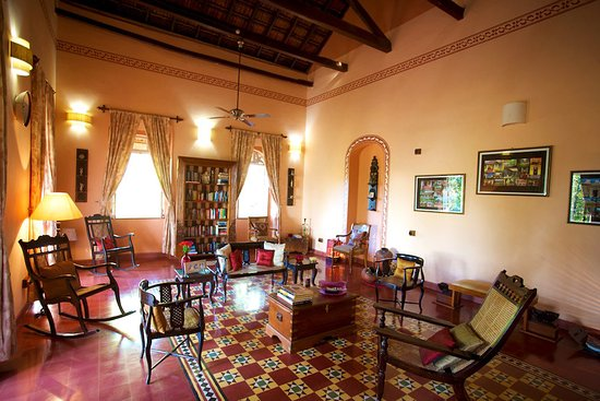 Curtorim, India: Antique Goan furniture in the seating room.