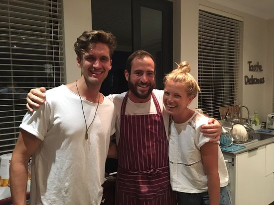 Enrica Rocca Cooking School Cape Town: Marie (my girlfriend), Lapo (middle), Me