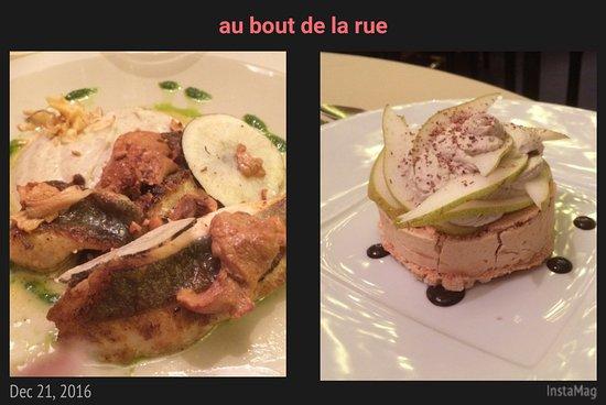 Flers, France: plat du marché du jour (filets de st pierre) et dessert meringue souple chantilly réglisse choco