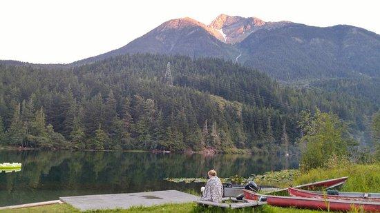 Birken, Canada: swimming area at sunset