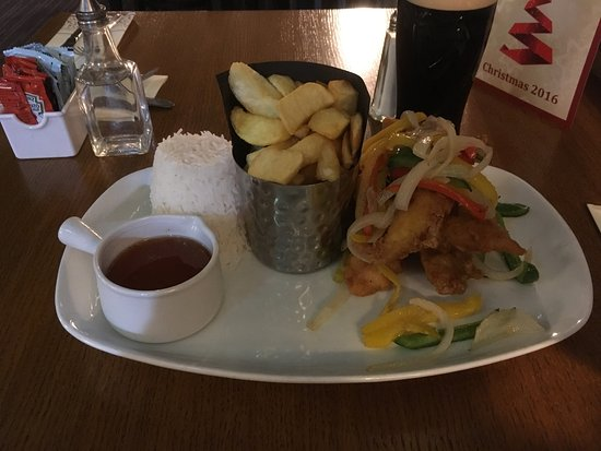 Dungannon, UK: Honey Chili Chicken with Basmati Rice & Chips