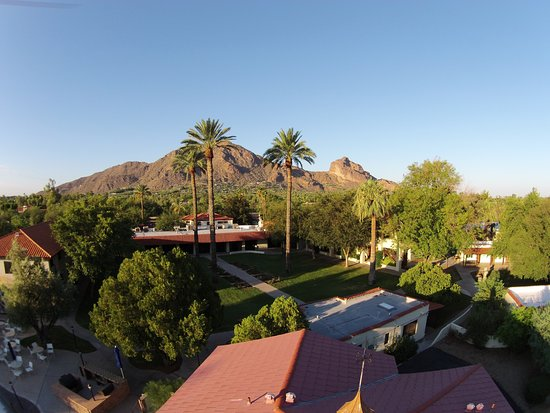 Franciscan Renewal Center: The beautiful grounds with Camelback mountain