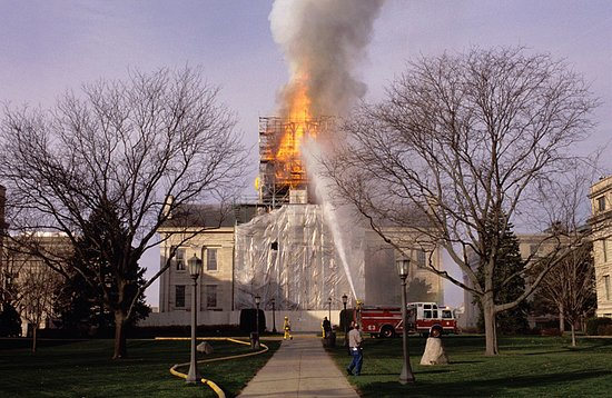 Old Capitol Museum: Here's the fire crew putting out the fire at Iowa's Old Capitol building, Nov. 20, 2001.