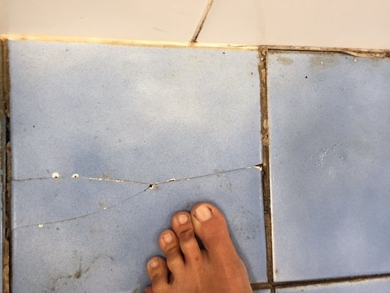 North Coast Holiday Parks Seal Rocks : broken tiles around toilet