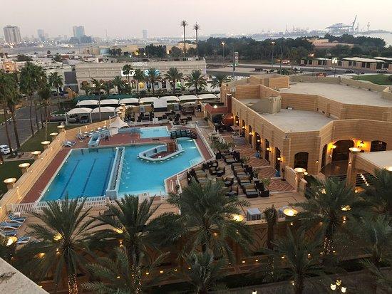 InterContinental Hotel Jeddah: Room view of the pool, Shishah smoking area, Gym
