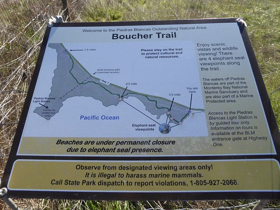 Boucher Trail map - Picture of Piedras Blancas, San Simeon ... on south el monte map, pismo beach map, moonstone beach map, yorba linda map, morro bay state park map, hearst castle map, pico rivera map, santa cruz map, van nuys map, hearst mansion map, casmalia map, carmel bay map, santa susana pass map, cayucos map, gorda map, lake san antonio map, yosemite national park map, mission san luis obispo map, turlock map,