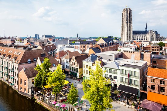 Flandes, Bélgica: Mechelen skyline with St. Rumbold's Cathedral