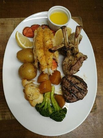 Kingsville, Canada: Lobster tail,lamb,filet mignon,broccoli,cauliflower and golden beets!