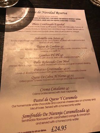 cafe andaluz city centre the christmas dinner menu