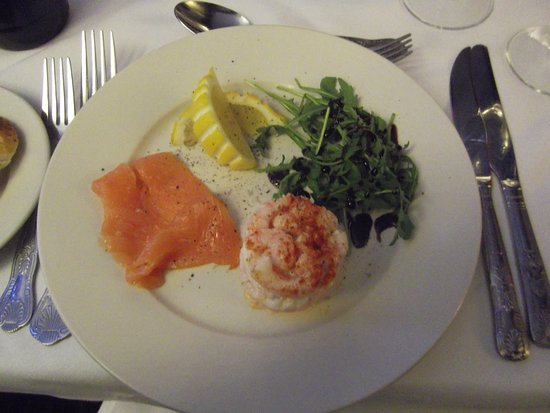 Birchington, UK: Smoked salmon with prawn and egg tower starter