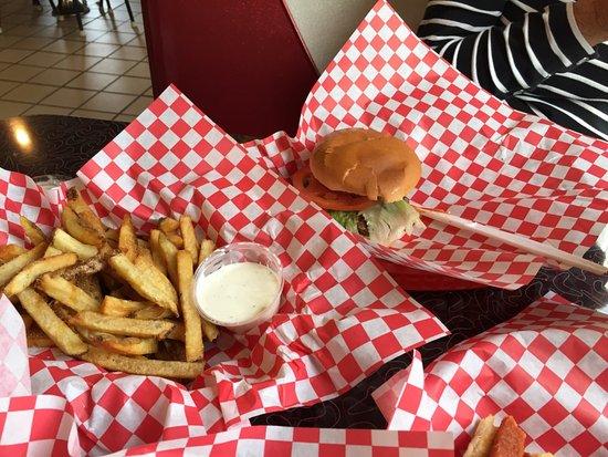 t l hotdogs hamburger and french fries