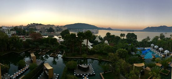 The Leela Palace Udaipur: This is the view of the grounds and part of Lake Pichola from our balcony