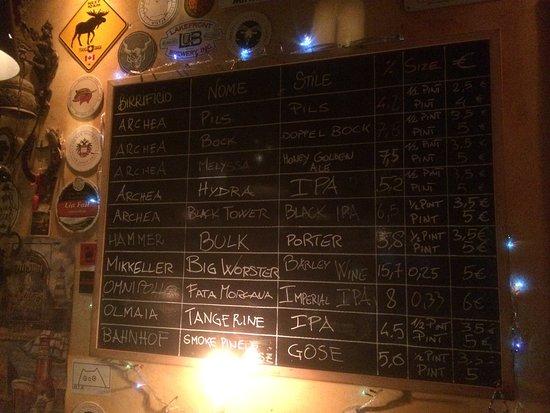 Archea Brewery: Lista delle birre