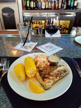 Grilled Haddock with cole slaw and corn on the cob. - Picture of Legal Sea Foods, Paramus ...