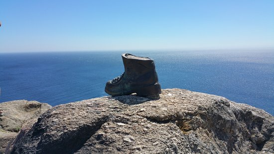 The Symbol Of The Camino De Santiago By The Finisterre Lighthouse