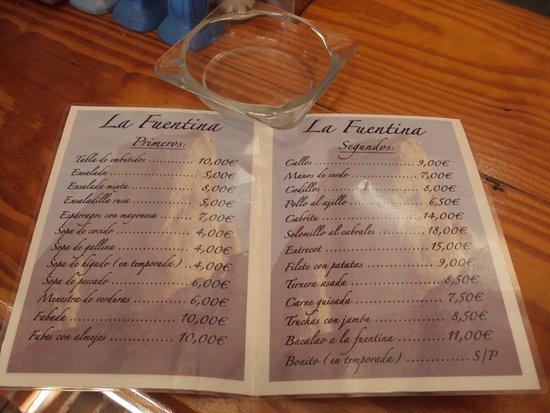 Camarmena, إسبانيا: Carta del bar-restaurante.