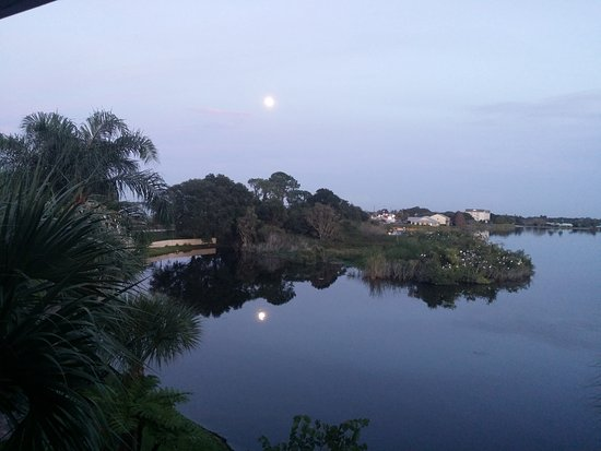 Sebring, FL: Moon on the lake behind the hotel