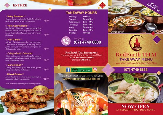 RedEarth Thai Restaurant & Takeaway: RedEarth Thai Takeaway Menu 1