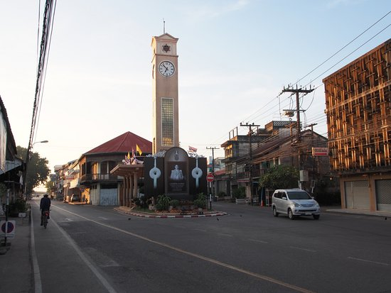 Vietnamese Clock Tower at the walking street of Nakhon Phanom