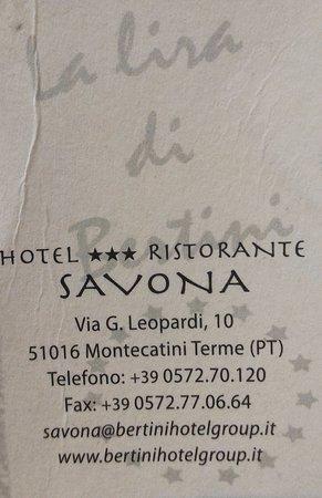Biglietto da visita: HOTEL SAVONA.