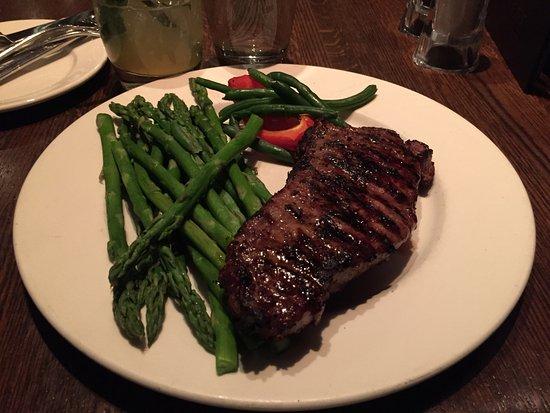 The Keg Steakhouse & Bar Hamilton: Medium well Striploin with asparagus