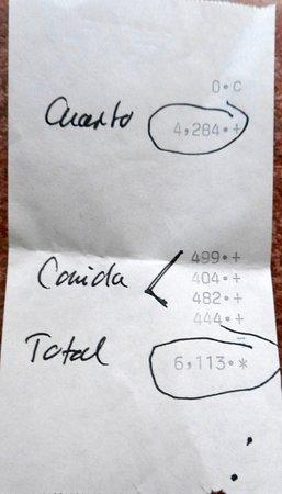 """Santa Elena, Mexico: la """"facture"""" finale : paiement en espèces..."""