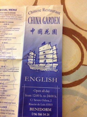 China Garden: Menu