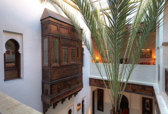 Riad le Clos des Arts: courtyard with palm tree