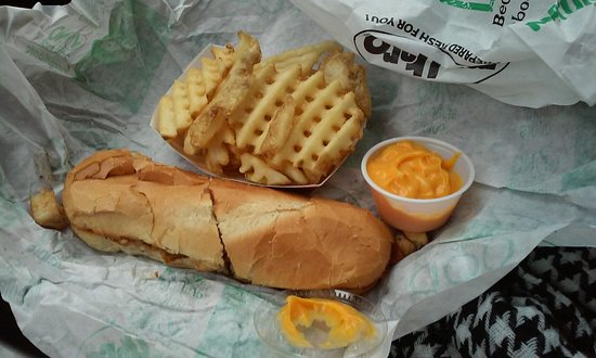 Mansfield, OH: chicken bacon swiss, waffle fries and cheese sauce