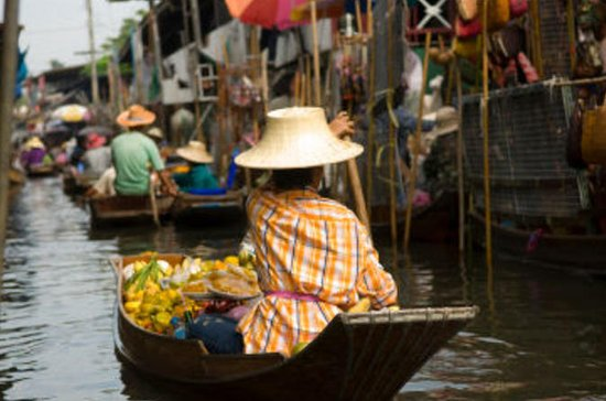 Floating Markets and Bridge on River...