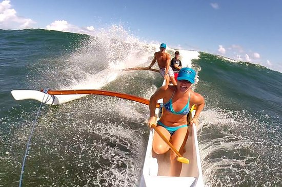 St Martin Canoe Surfing at Le Galion...