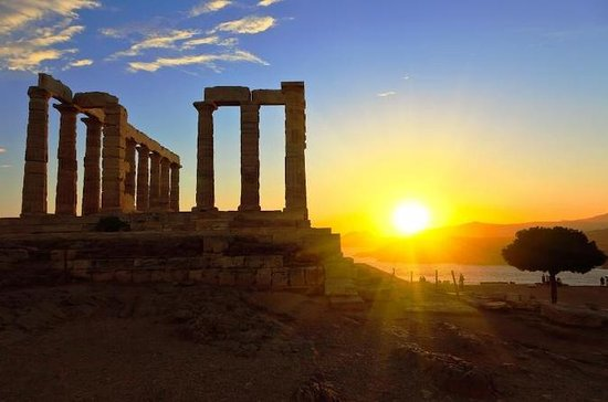 Sunset at the Cape Sounion Half Day