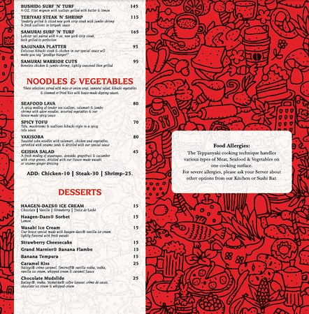 Samurai Restaurant St Kitts Menu
