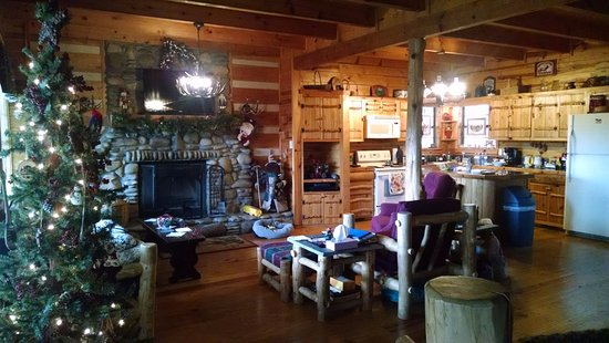 Blue Smoke Mountain Cabins: living area/kitchen
