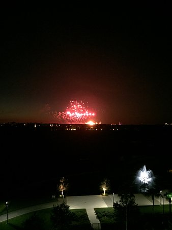 Waldorf Astoria Orlando: View of fireworks at Hollywood Studios from our balcony room #737.