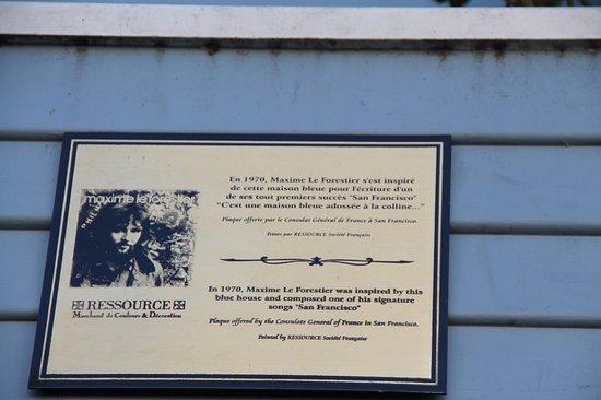 Maison bleu maxime le forestier plaque picture of maison for Adresse maison bleue san francisco