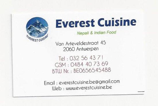 visitekaartje picture of everest cuisine antwerp tripadvisor