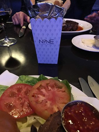 N9NE Steakhouse: Burger and fries