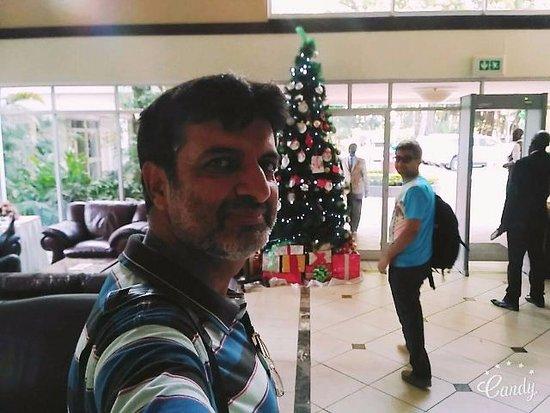 lake kivu serena hotel entrance to hotel lobby christmas tree in the background