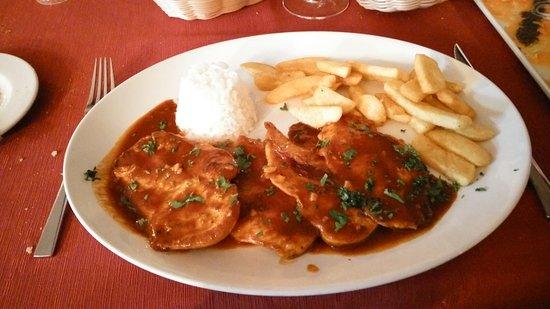 Hot chicken, salmin carpacio. Delicious!