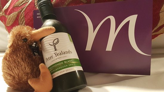 Mercure Wellington Abel Tasman Hotel: My kiwi friend with my gift received at check-in for being a silver Le Club member.